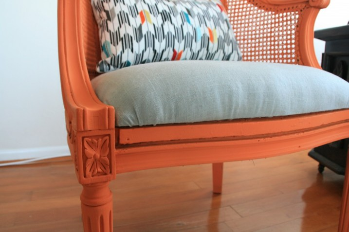 orange wicker chair