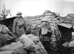 soldiers in the trenches during WWI