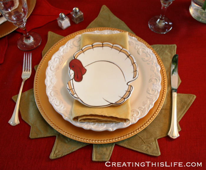 Pottery Barn turkey placesetting at CreatingThisLife.com