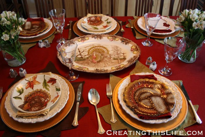 Thanksgiving table at CreatingThisLife.com