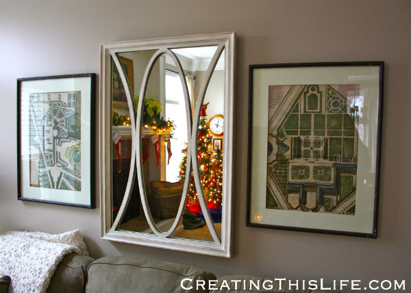 Family Room Mirror at Christmas