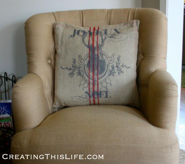Grain sack Christmas pillow
