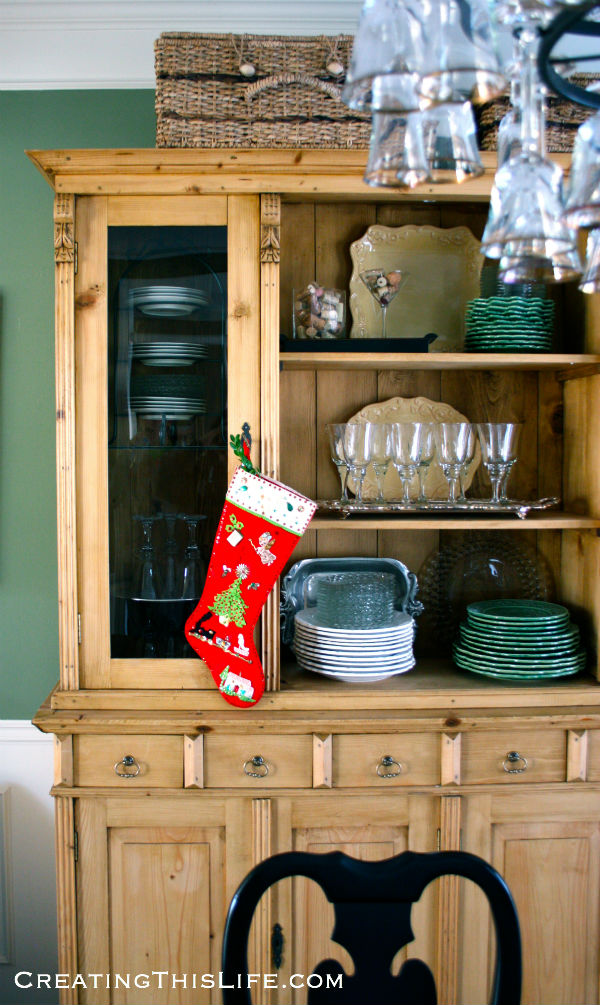 dining room hutch with stocking