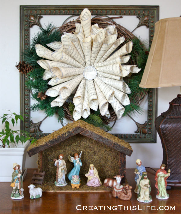 sheet music christmas star with nativity