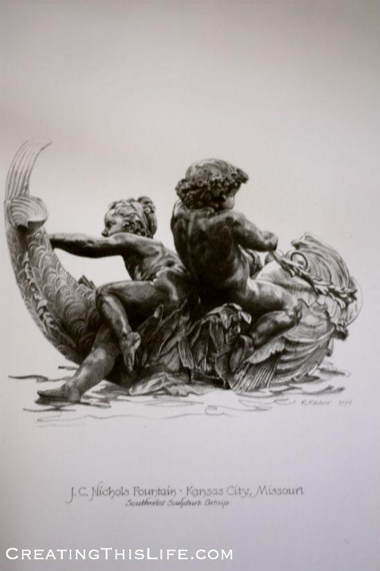 Kansas City Southwest Sculpture Cherubs Drawing