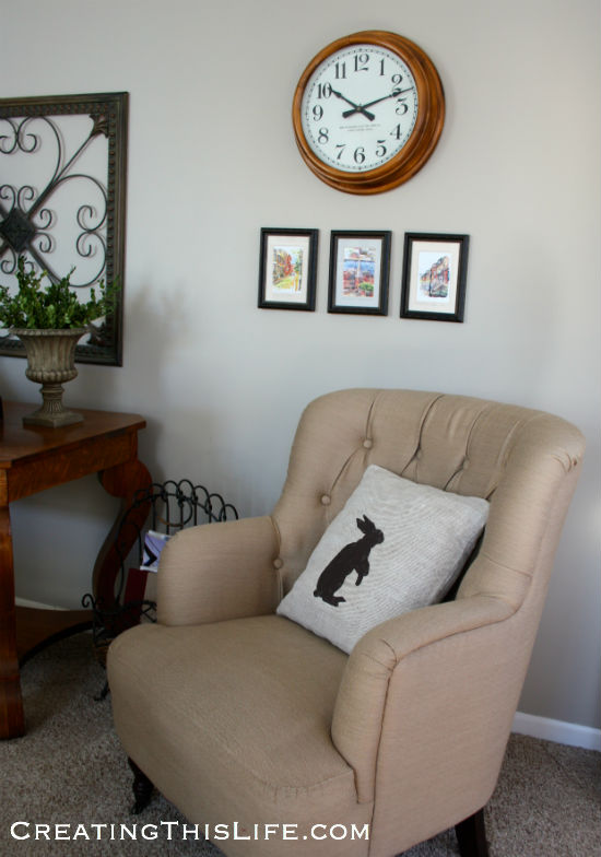 Family Room clock and prints