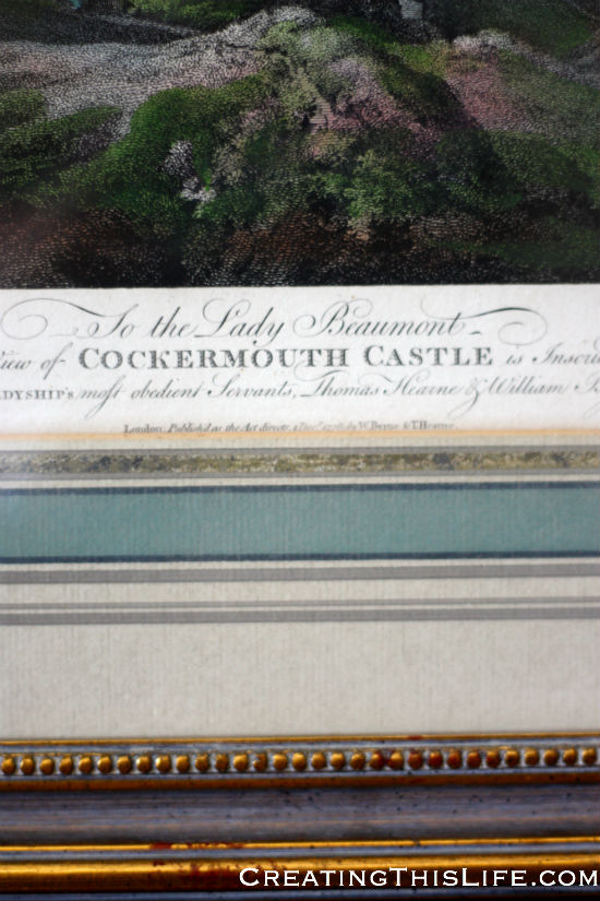 vintage framed castle print closeup