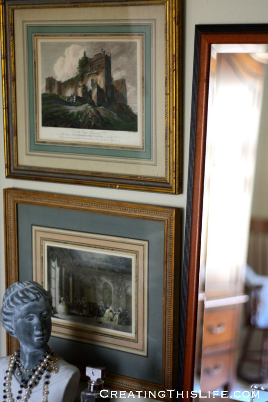 vintage framed estate sale prints for master bedroom