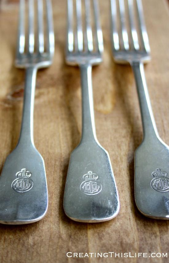 antique engraved silver plate dinner forks