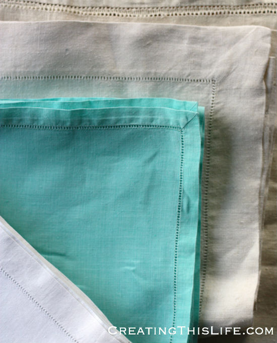 hemstitch runners and napkins
