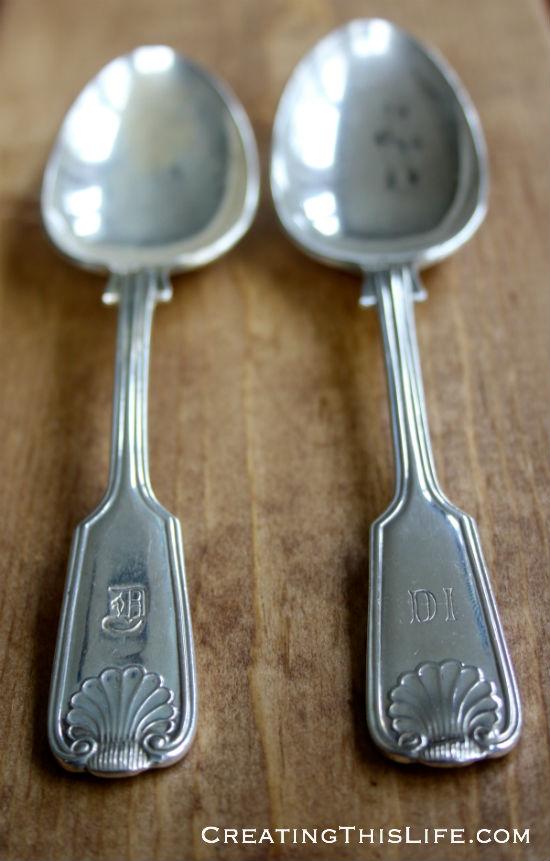 monogrammed silverplate spoons