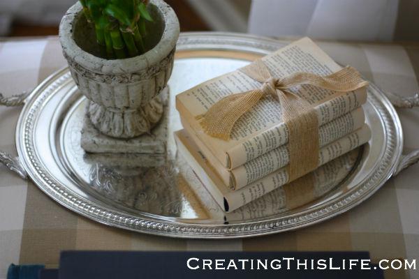 silver tray on ottoman