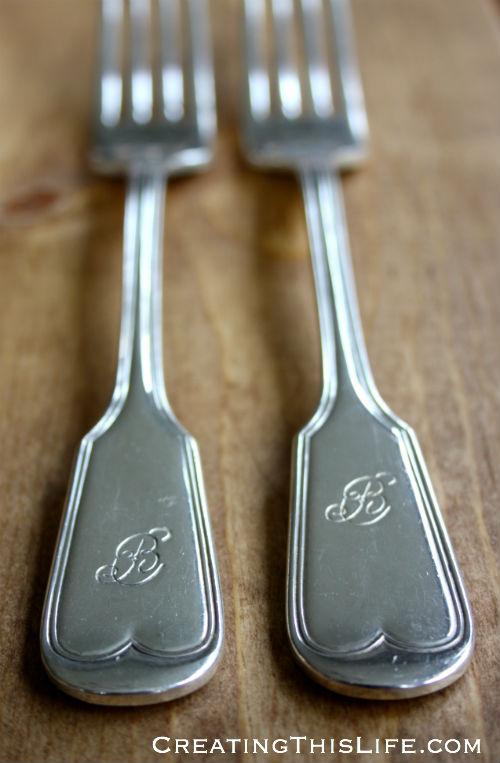 vintage monogrammed silver plate dinner forks
