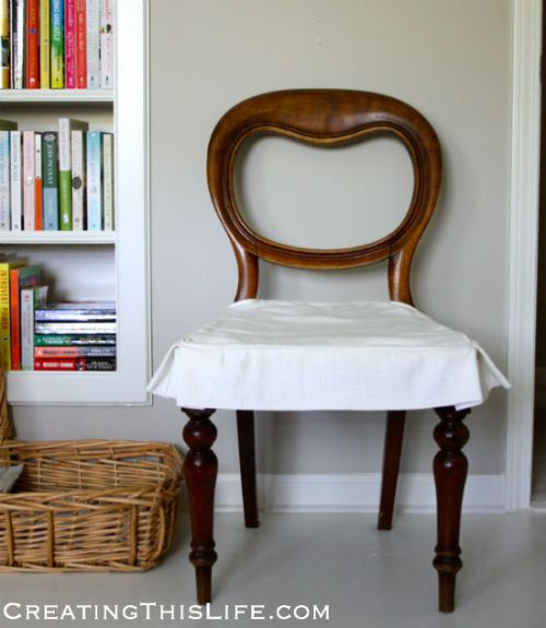 Antique skirted chair at CreatingThisLife.com