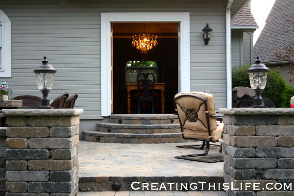 Patio with french doors at CreatingThisLife.com