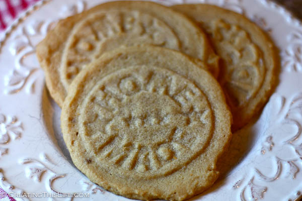 Peanut butter cookies using home made stamp instead of fork