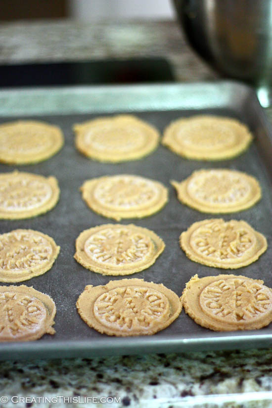 Sheet of Home Made Peanut Butter Cookies with Stamp