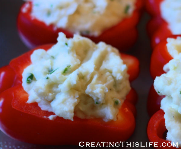 Potato stuffed red bell peppers