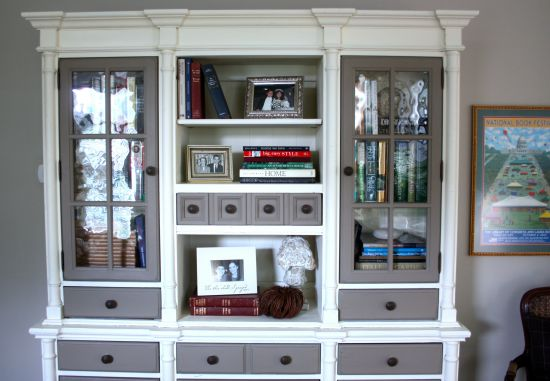 Painted hutch with bronze knobs