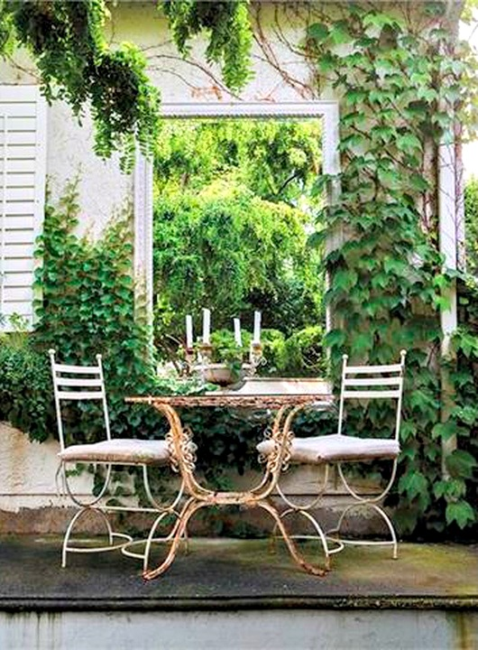 romantic outdoor garden with mirror
