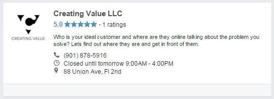 Creating Value LLC Facebook Professional Services