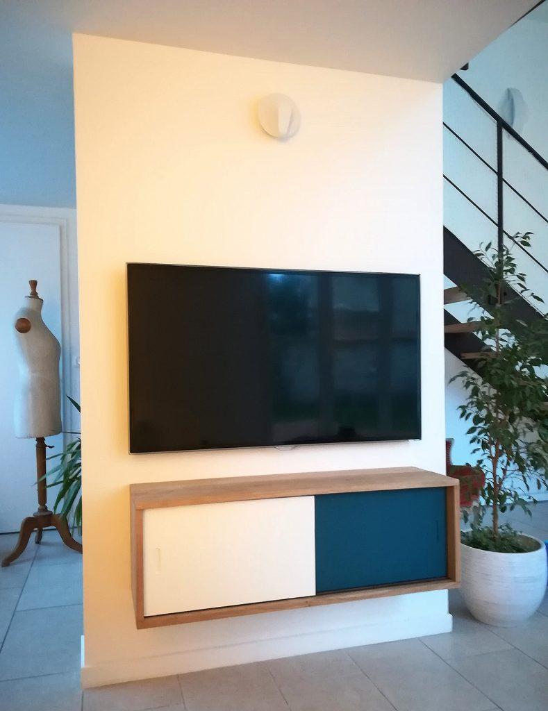 meuble mural tv coulissant art et