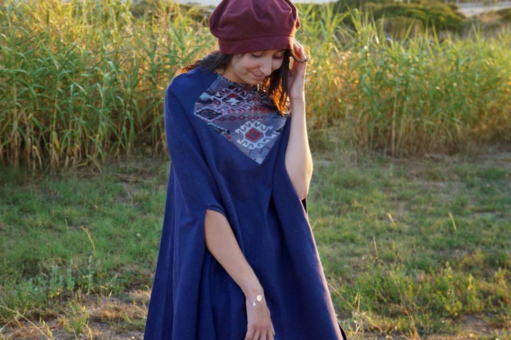 NATI - créations d'une rêveuse | Créatrice de mode | Annecy & Villaz | poncho Soha et son béret - automne hiver 2019