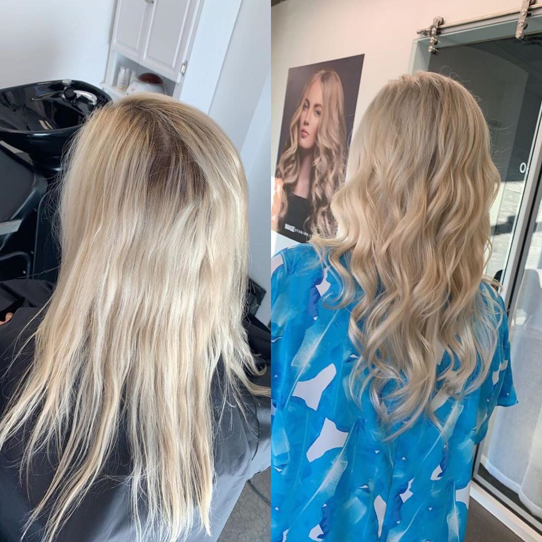 Before and after balayage highlight in Greenville SC