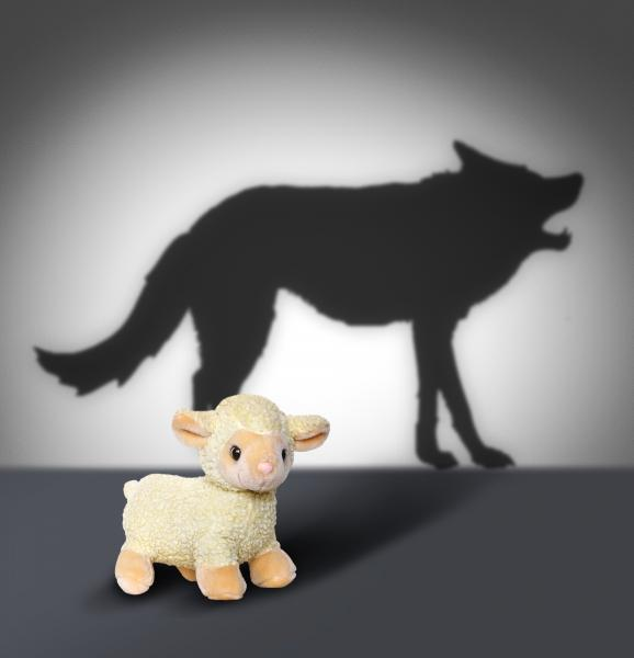 Shadow of a wolf and a toy lamb