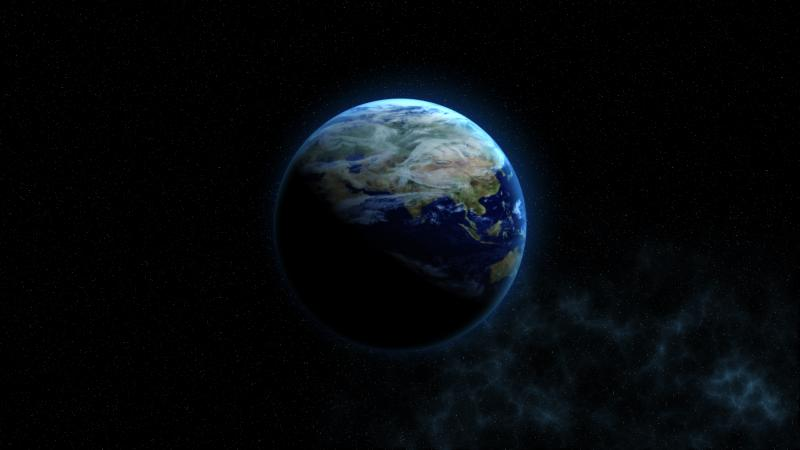 Artist rendering of the earth in space