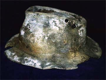 Fossilized miner's hat on display at a mining museum on Tasmania's west coast