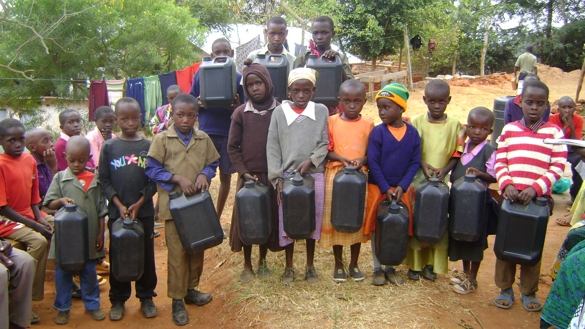 Each child received a jerrycan to go and fetch water for their goat
