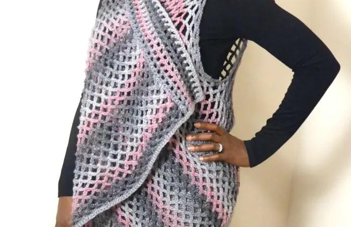 draped diamond lace vest