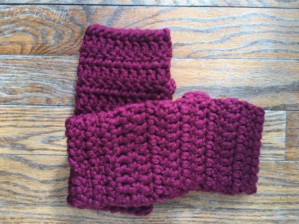 Burgundy Chunky Fingerless Gloves