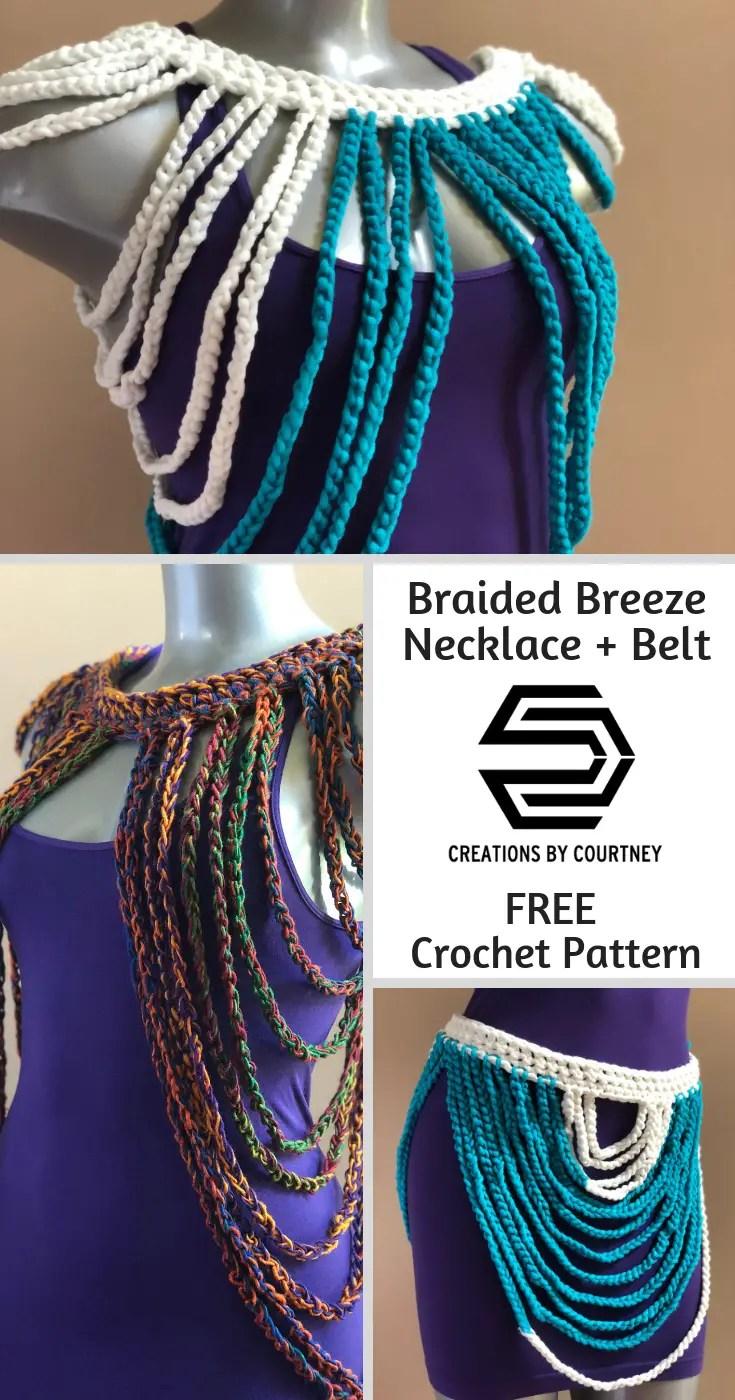 Braided Breeze Necklace + Belt, a free crochet pattern