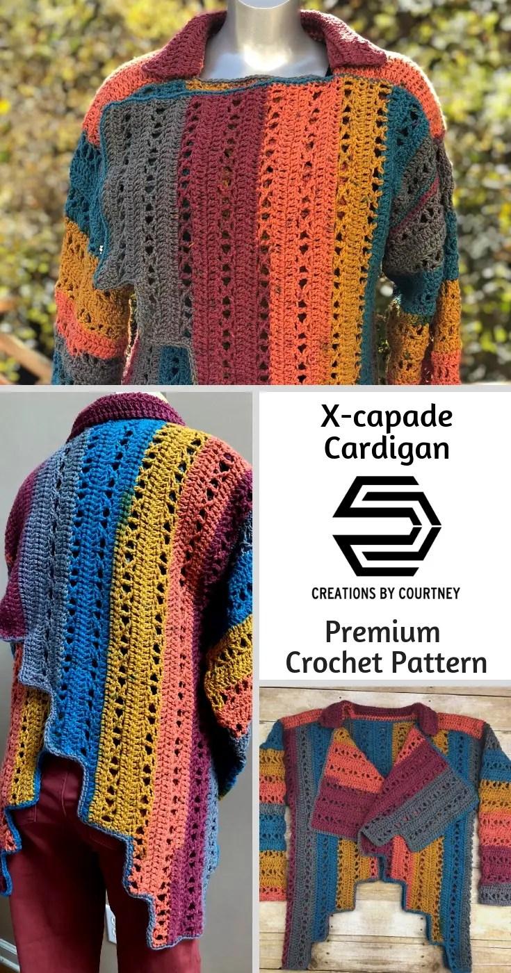 X-capade Cardigan, a premium crochet pattern