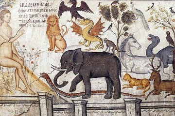 Adam Naming the Animals Medieval Painting