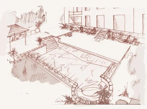 hand sketch overflow pool and spa