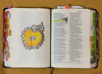 This Apple print is in an Interleave Bible, illustrating Proverbs 25:11. Embellished with Gold and Silver Sharpies.