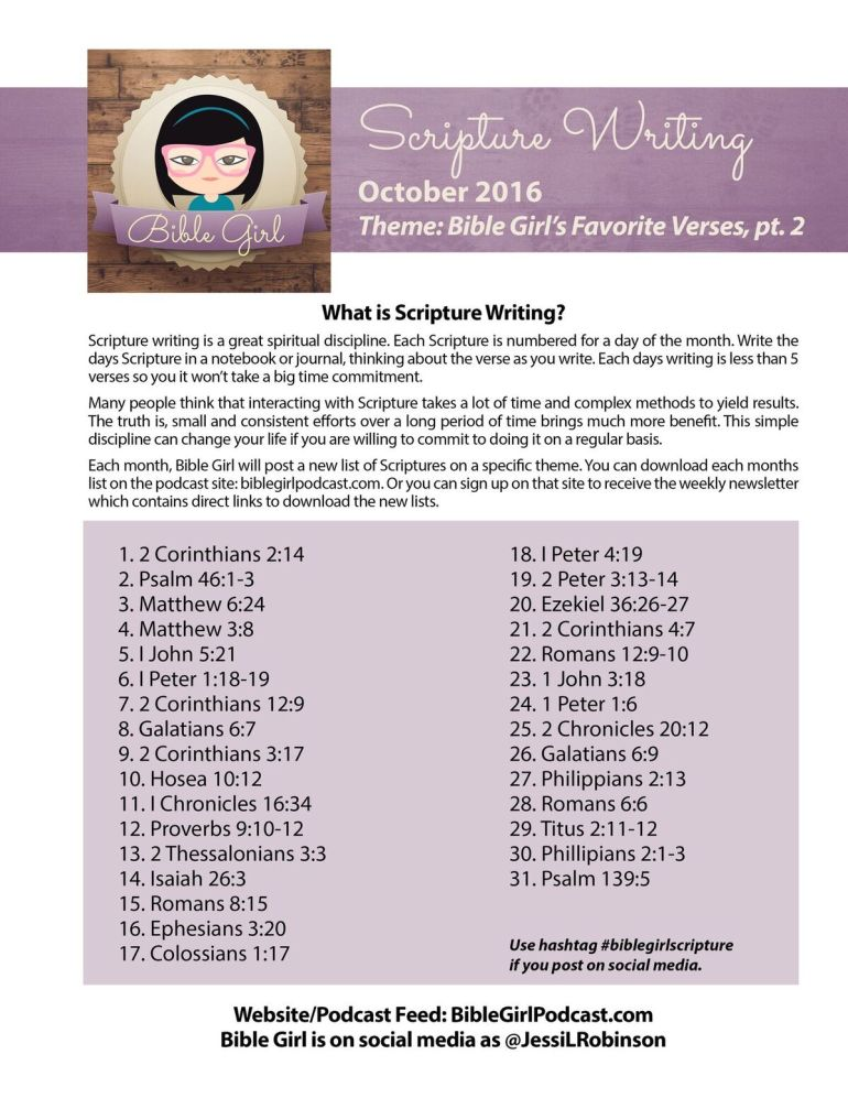 Bible Girl October Scripture Writing Plan