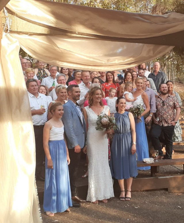 Fun Brisbane based celebrant conducting marriage ceremony