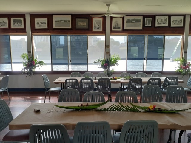 Decorated hall for wedding reception at the South Brisbane Sailing Club
