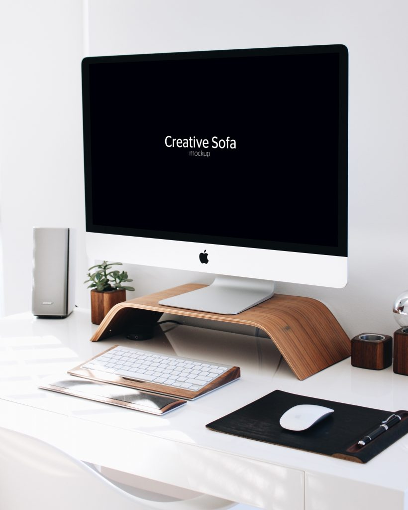 iMac Free Perspective Mockup PSD