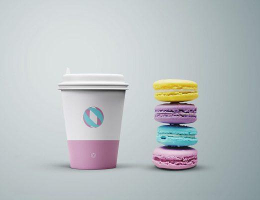 Coffee Cup Macaroons Mockup