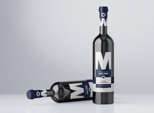 Wine Bottle Free PSD Mockup