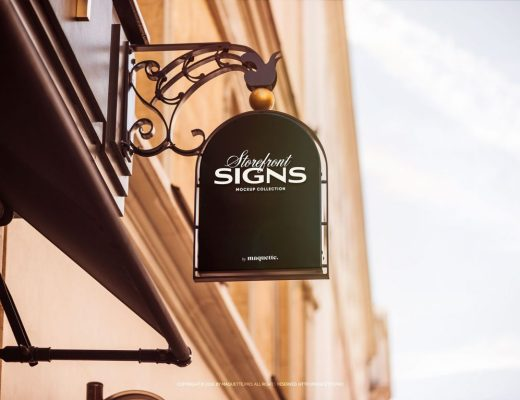 Free Store Front Sign Logo Mockup