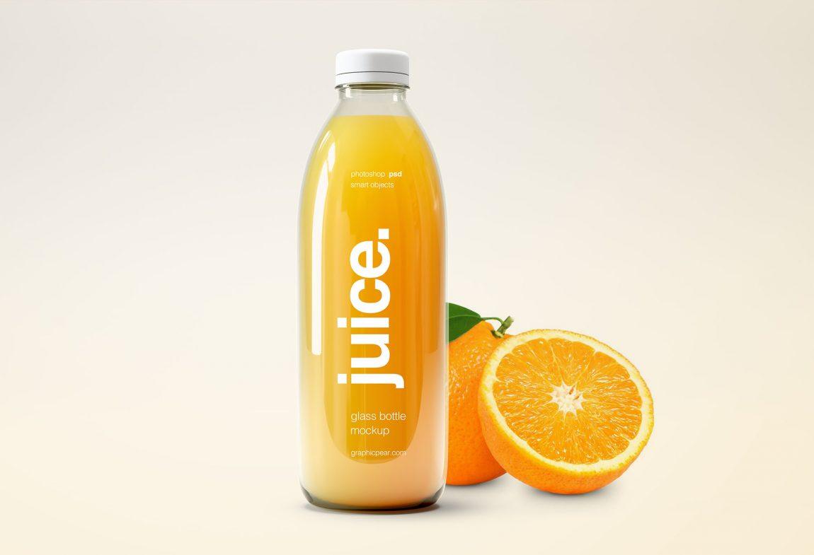 Small Glass Bottle Juice Mockup Free PSD