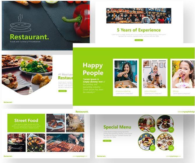 Free Restaurant Powerpoint Template Creative Sofa