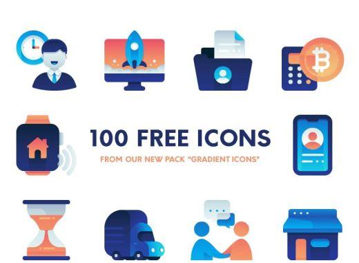 Flat Gradient Free Icons