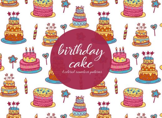 birthday cake illustration pattern
